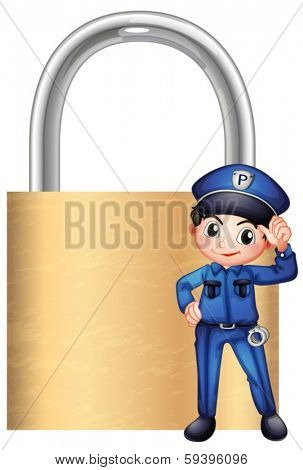 Illustration of a police officer in front of the giant lock on a white background