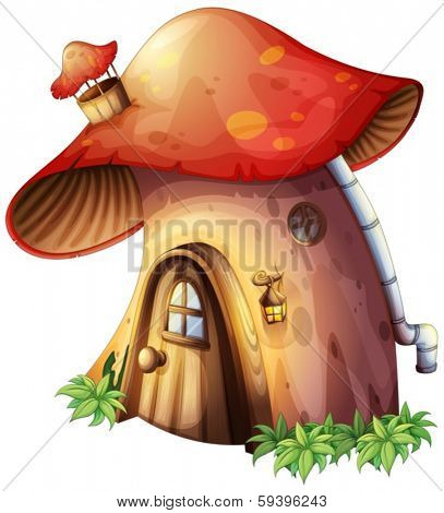 Illustration of a mushroom house on a white background