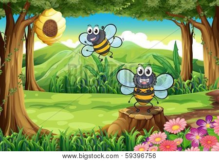 Illustration of a forest with two bees near the beehive