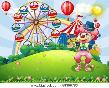 Illustration of a clown juggling at the hilltop across the carnival