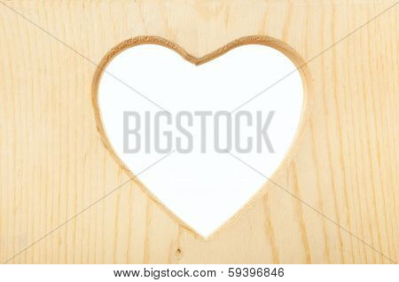 Wooden Heart Frame With Clipping Path