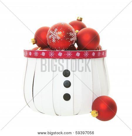 Red Balls In Snowman Basket