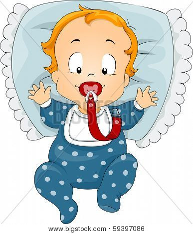 Illustration of a Baby Boy Latching on to a Pacifier Attached to a Clip