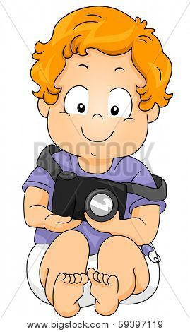 Illustratiion of a Little Boy Holding a Camera