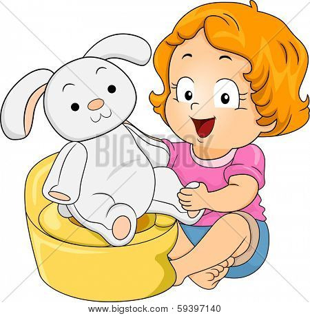 Illustration of a Little Girl Teaching Her Stuffed Bunny to Use the Potty