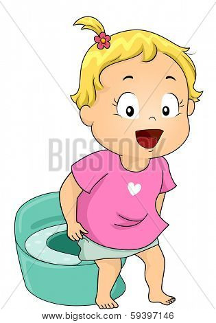 Illustration of a Little Girl Using the Potty
