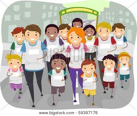 Illustration of a Family Participating in a Fun Run Together