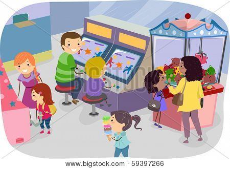 Illustration of a Family Enjoying a Day in the Arcade