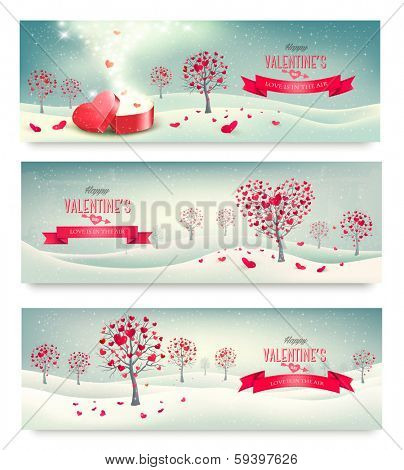 Holiday retro banners. Valentine trees with heart-shaped leaves. Vector