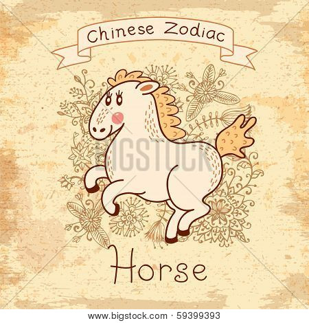 Vintage card with Chinese zodiac - Horse