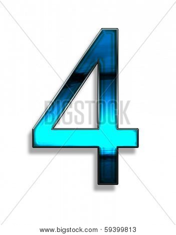 four, illustration of  number with blue chrome effects on white background