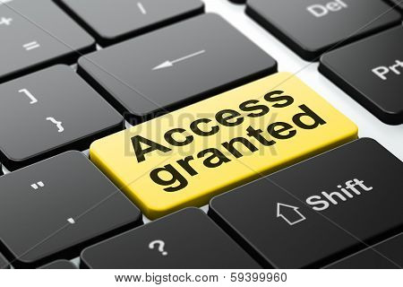 Privacy concept: Access Granted on computer keyboard background