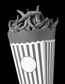 picture of ironic  - Ironic image of Cardboard Box with fried fish instead pop corn copy space black and white - JPG