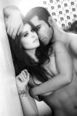 image of nude couple  - Black and white portrait of a sexy male and female couple - JPG