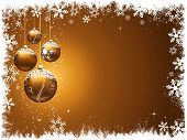 stock photo of christmas star  - Christmas baubles hanging on a gold Christmas background - JPG