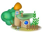pic of fairy-mushroom  - Two fairy mushroom houses and bush with small fence - JPG