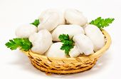 stock photo of agaricus  - Champignon mushroom white agaricus in the basket isolated - JPG