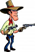 image of gunfighter  - Cartoon cowboy drawing guns - JPG