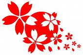 foto of japanese flag  - Japanese Flag with cherry blossom flower heads - JPG