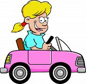 Cartoon girl in a toy car