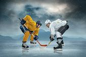 picture of ice hockey goal  - Ice hockey players on the ice - JPG