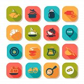 foto of continental food  - Flat Food Icons Set Created For Mobile - JPG