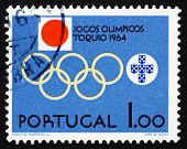 Postage Stamp Portugal 1964 Olympic Rings And Emblems
