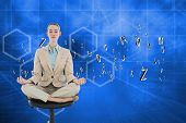 Peaceful chic businesswoman sitting in lotus position on swivel chair against abstract technology ba