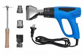 stock photo of air paint gun  - Hot air gun with accessories isolated on a white background with clipping paths - JPG