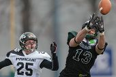 VIENNA,  AUSTRIA - APRIL 6 DB Pavel Klem�¡ (#25 Panthers) and WR Thomas Haider (#13 Dragons) fight