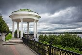 Embankment of the river Volga in Yaroslavl. Gazebo.