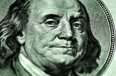 Closeup of hundred dollar bill isolated on Franklin portrait