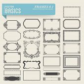 vector basics: collection of 25 detailed hand-drawn frames and panels in various styles poster