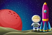 stock photo of beside  - Illustration of an explorer beside the rocket in the outerspace - JPG