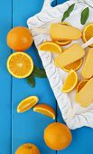 picture of popsicle  - Orange popsicle ice cream bars made from fresh oranges - JPG