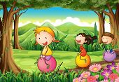 foto of bouncing  - Illustration of the kids playing with their bouncing balloons at the forest - JPG