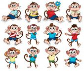 stock photo of headgear  - Illustration of the monkeys with different emotions on a white background - JPG