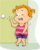 stock photo of peeing  - Illustration of a Little Girl Frantically Knocking on the Restroom Door to Pee - JPG