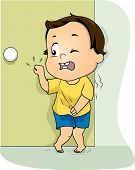 foto of pee  - Illustration of a Little Boy Frantically Knocking on the Restroom Door to Pee - JPG