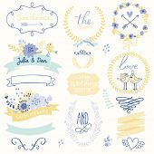 stock photo of laurel  - Wedding gentle collection with labels - JPG