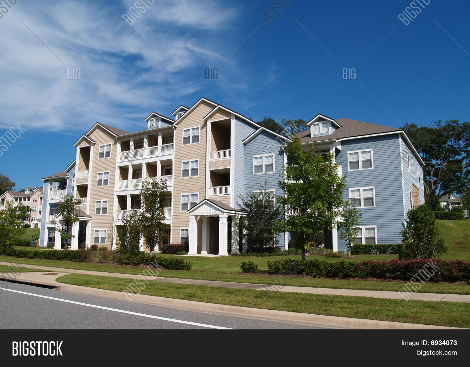 Three Story Condos Apartments Or Townhomes Stock Photo