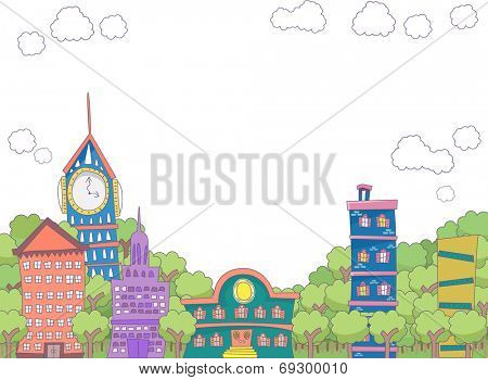 Illustration Featuring Eclectic Buildings Surorunded by Trees