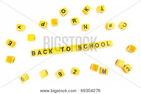 Back to school. Educational cubes isolated on white