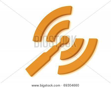 Orange Rss Antenna With Two Signals Radio Waves