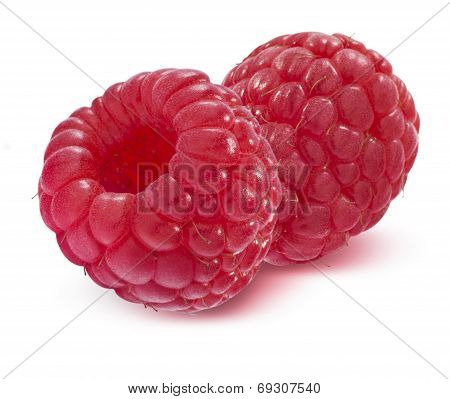 Double Raspberry Isolated On White Background