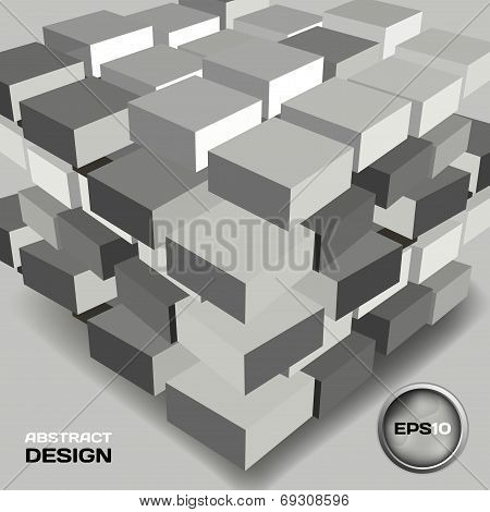Abstract Black And White Background With Bulky Cubes