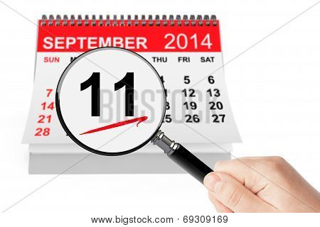 911 Never Forget Concept. 11 September 2014 Calendar With Magnifier