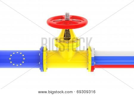 Gas Pipeline With Russian And European Union Flags