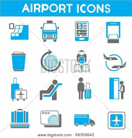 airport, aerial transportation industry icons