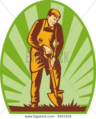 Gardener or farmer digging with shovel and sunburst